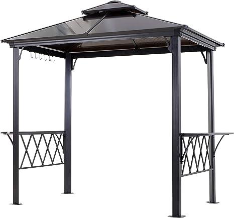Outsunny - Cenador de barbacoa de doble capa para patio al aire libre con 2 estantes separados para servir y 6 ganchos para utensilios