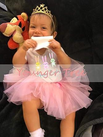 BABY GIRL/'S HAPPY EASTER PINK Tutu Romper Dress Newborn Present Love Cute Party