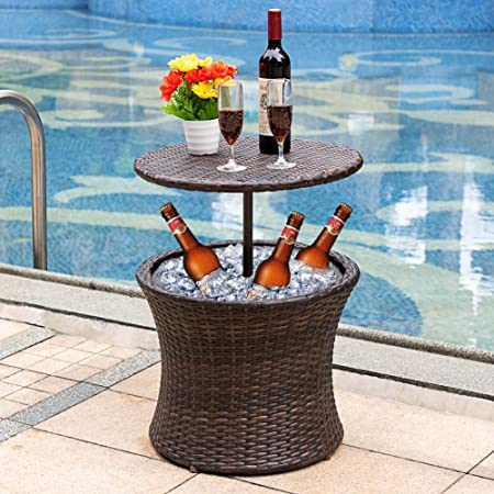 Sundale Outdoor 7.5 Gallon Deluxe Patio Pool Cooler Table All Weather Patio Cool Bar Cooling Bins,Brown Wicker