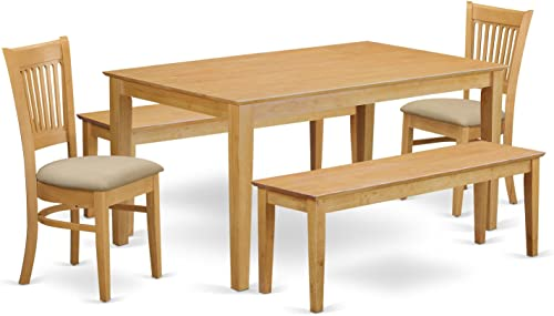 CAVA5C-OAK-C 5 Pc Dining room'set -'small Table and 2 Dining Chairs plus 2 Wooden benches