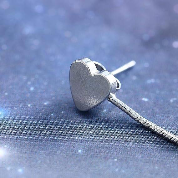 Argent Simsly Coeur simple Boucles doreilles Amour Goujons eardrop Bijoux pour les femmes et les filles