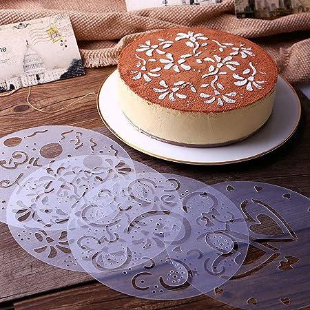 Uhat Pack 4 Variety Cake Stencil Template Reusable 7.7inch Birthday Heart Flower Spirals Decorating Mold Tool Screen Printing Film Tiramisu Spray Mode