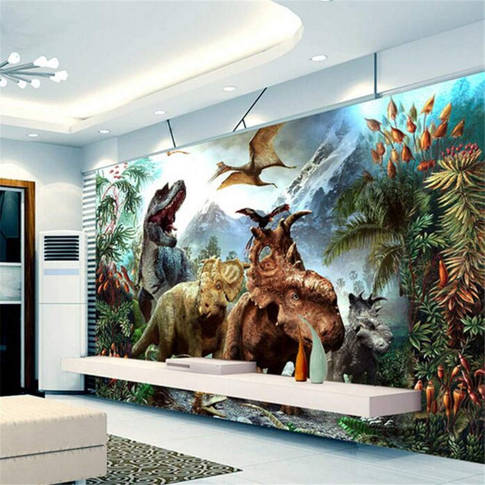 Fototapete Dekor Wallpaper Benutzerdefinierte 3D Poster 3D Cartoon Dinosaurier Vlies Wandbild Wohnzimmer Schlafzimmer Kinderzimmer Wandbilder Tapete, 400 Cm X 280 Cm