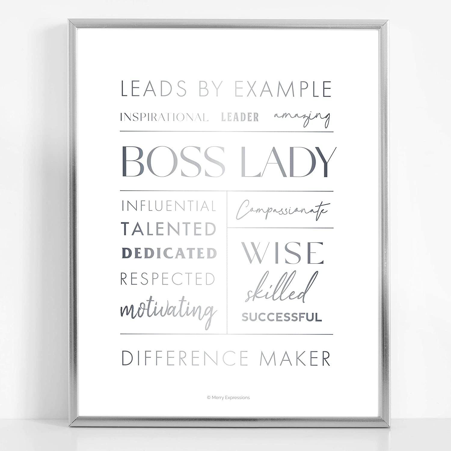 Boss Lady Desk and Wall Art with Aluminum Frame - Boss Lady Office Decor, Boss Lady Gift with Boss Lady Quote by Merry Expressions (Silver, 7