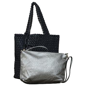 e9883c698dc9e Damen Schultertasche Bag in Bag Wendetasche Beuteltasche Shopper Leder  Optik geflochten zweifarbig