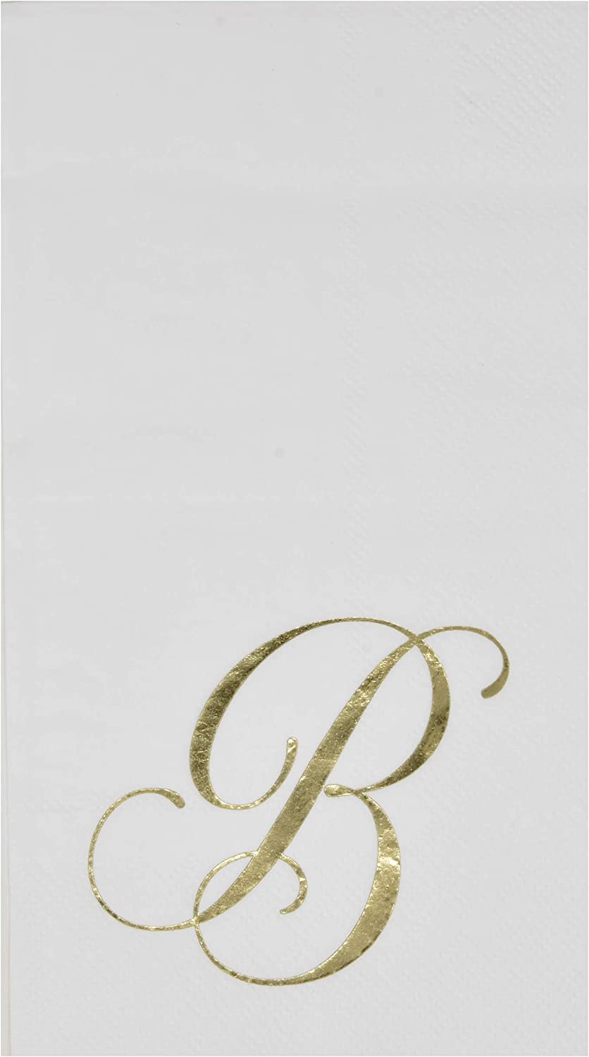 100 Gold Monogram Guest Napkins Letter B Disposable Paper Pack Elegant Metallic Golden Foil Dinner Hand Napkin for Bathroom Powder Room Wedding Holiday Birthday Party Baby Shower Decorative Towels