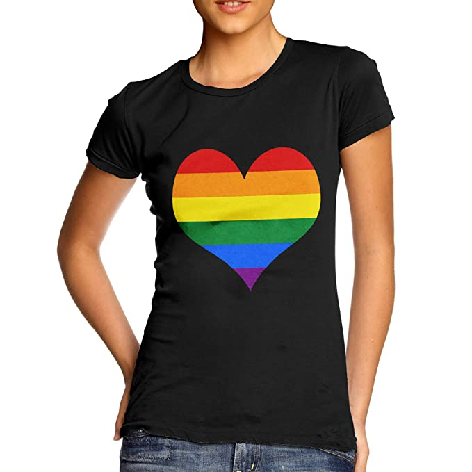 def70faa959 TWISTED ENVY Women s Cotton Gay Pride Full Heart Rainbow Graphic T-Shirt   Amazon.co.uk  Clothing