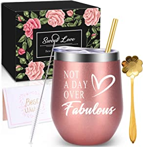 WONDAY Gifts for Women-Birthday Gifts for Women-Wine Gifts Ideas for Women, Mother, BFF, Mom, Friends, Wife, Daughter, Sister, 12 OZ Stainless Steel Wine Tumbler with Lid and Coffee Spoon