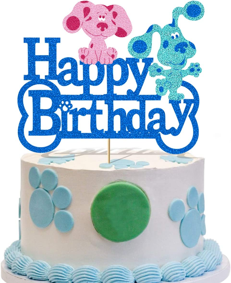 Glorymoment Blues Clues Cake Topper Birthday, Glitter Blue and Pink Puppy Happy Birthday Cake Topper for Blues Clues Cartoon Dogs Theme Party Decor, Kids Pets Birthday Cake Decorations ( 6.7'' x 5.39'' )