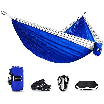 Attractive Kamileo Camping Hammock, Double Parachute Hammocks With 3D Sleep Mask For  Hiking, Travel, Backpacking, Beach, Yard Gear Includes Nylon Straps U0026 Steel  ...