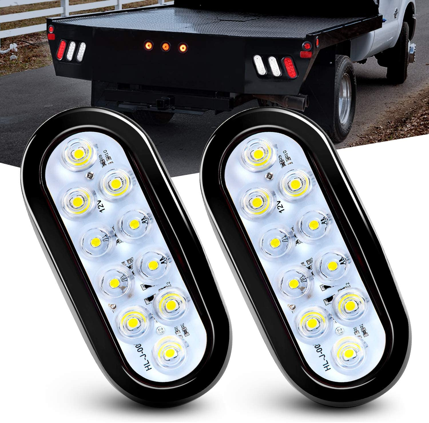 2 Years Warranty Nilight 6 Oval White LED Trailer Tail Lights 2PCS 10 LED w//Flush Mount Grommets Plugs IP67 Waterproof Reverse//Back Up Trailer Lights for RV Truck Jeep