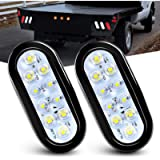 Nilight - TL-09 6 Inch Oval White LED Trailer Tail Lights 2PCS 10 LED w/Flush Mount Grommets Plugs IP67 Waterproof…
