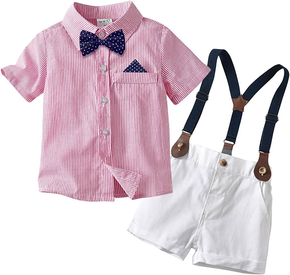 Overalls Shorts Pants Formal Outfit Set Summer Clothing Sets Toddler Baby Boys Gentleman Suit Bow Tie Lapel Shirt Tops