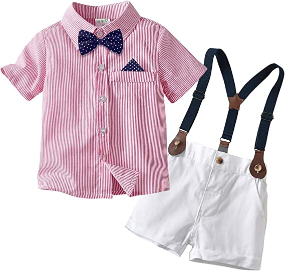 Cotrio Boys Gentleman Outfits Baby Button-Down Blouse Shorts Clothes Set