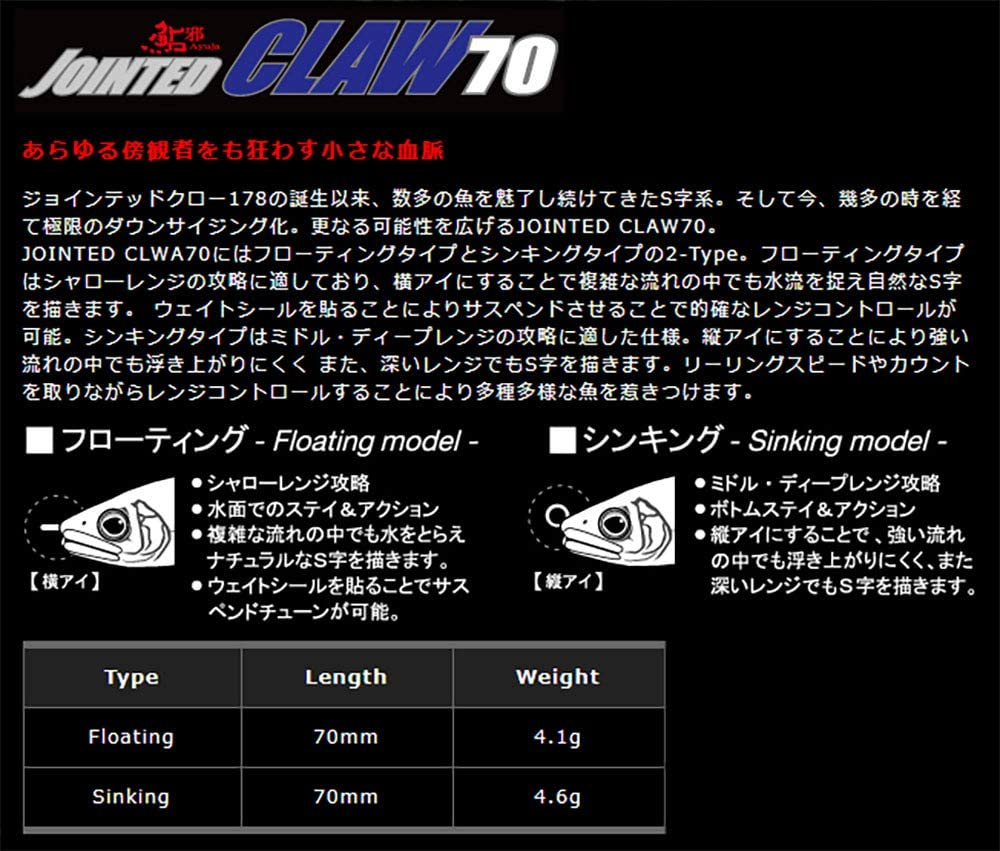 Gan Craft AYUJYA Jointed Claw 70 Type-S Sinking 01:JYAAYU