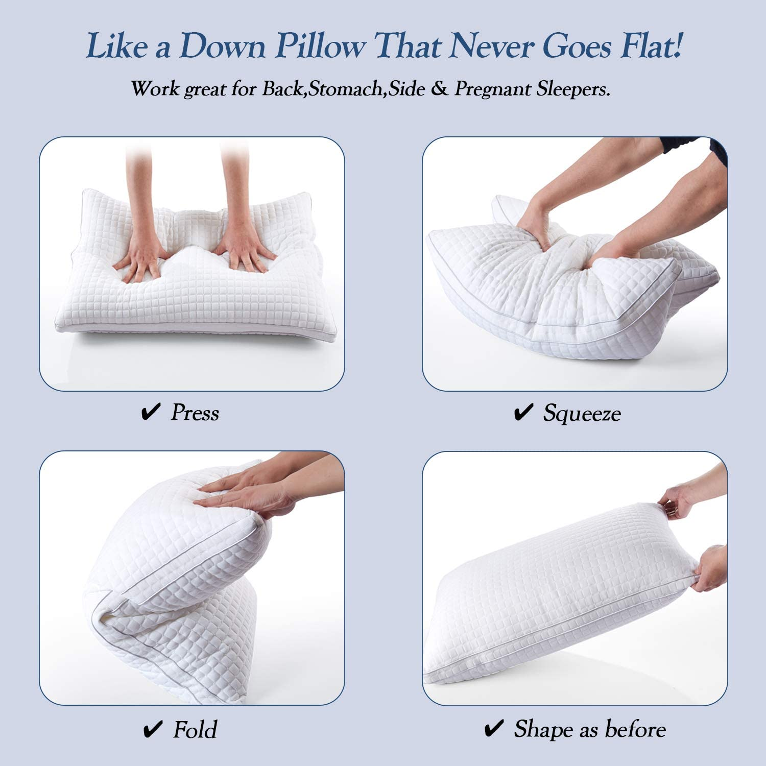 Side Sleepers-Queen Size JOLLYVOGUE 2 Pack Bed Pillows for Sleeping-Down Alternative Sleeping Bed Pillow with Plush Fiber Fill Stomach Adjustable Hotel Pillow for Back