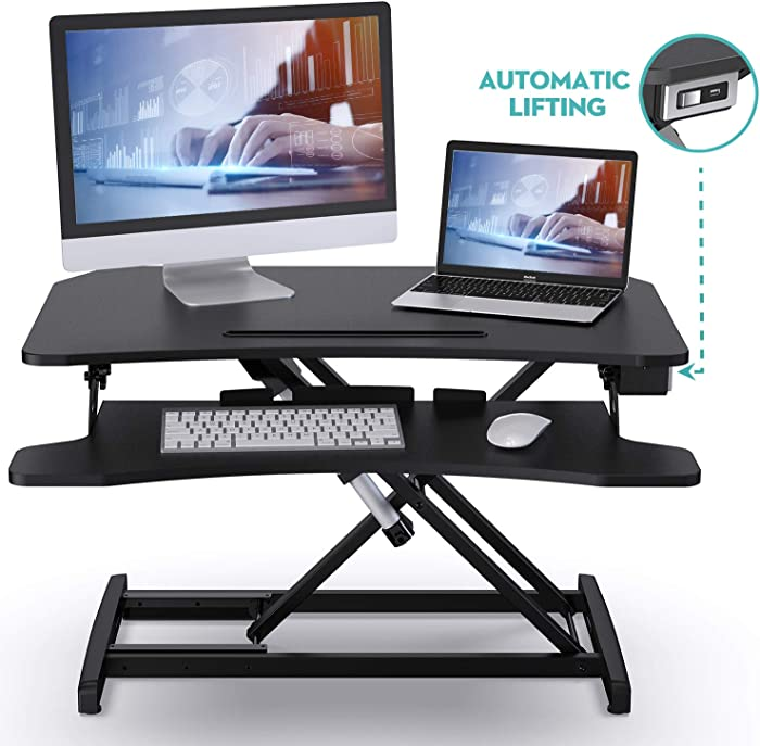 "ABOX Electric Powered Lifting Standing Desk Converter, 34"" Height Adjustable Sit Stand Desk Riser, Dual Monitors Removable Keyboard Tray, Black"