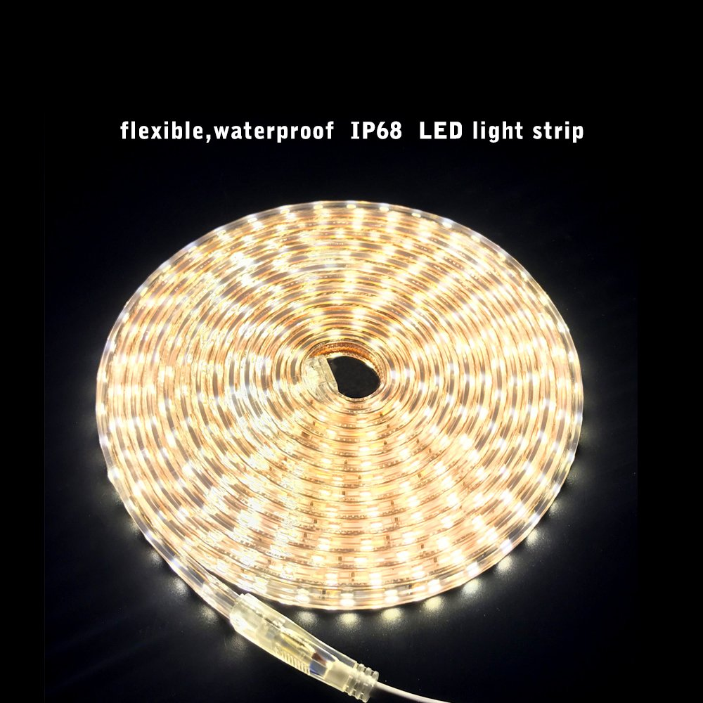 ... 5M 60LEDs/M SMD 5050 Blanco cálido 3000K, 230V IP68 Tira LED Iluminación Impermeable para el hogar, Decoración del jardín Iluminación de la Tira de la ...