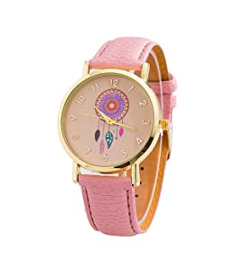 Vavna New Fashion Women's Dream Catcher Colorful Windbell Pattern Leather Dress Watch Gift (Pink)