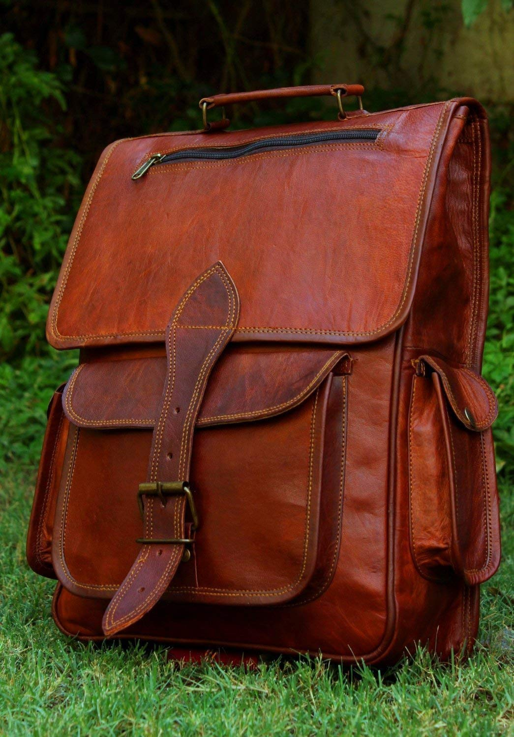 16 Inch Genuine Leather Retro Rucksack Backpack Bag , Picnic Bag Travel by cuero