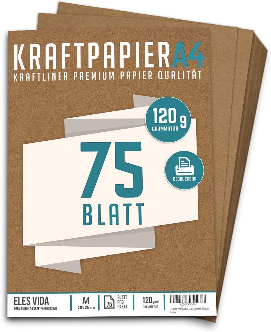 21 x 29,7 cm Kartonpapier Basteln f/ür Vintage Hochzeit Geschenke Etiketten Bastelpapier /& Naturkarton Pappe Bl/ätter aus Kraftkarton zum Drucken DIN Format 50 Blatt Kraftpapier A4 Set 120 g