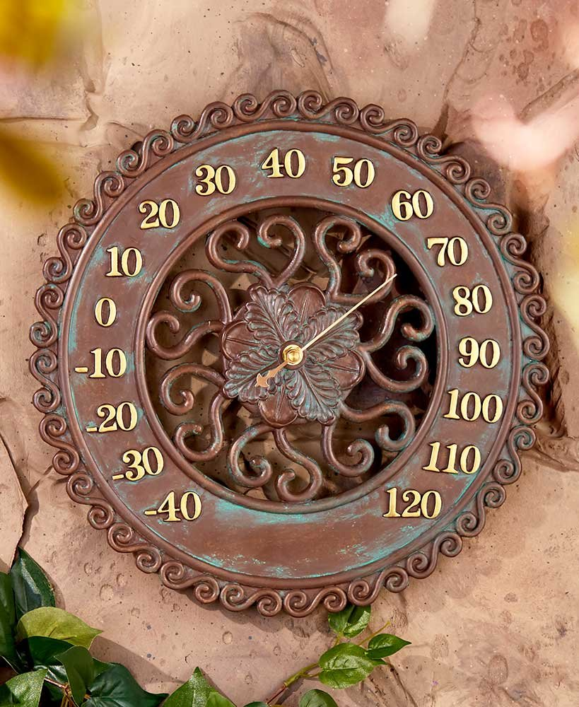 MattsGlobal Modern Authentic Heavy-duty Cold Cast Ceramic Woodland Indoor Outdoor Thermometer