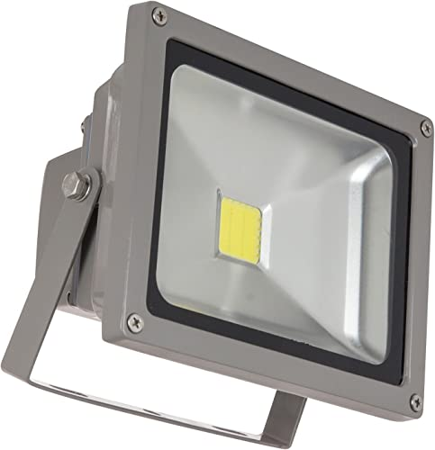 Sunlite LEDF 20W W LED Security Floodlight HPS HID Replacement Wall Mounted Fixture Outdoor, White 5000K Gray Finish