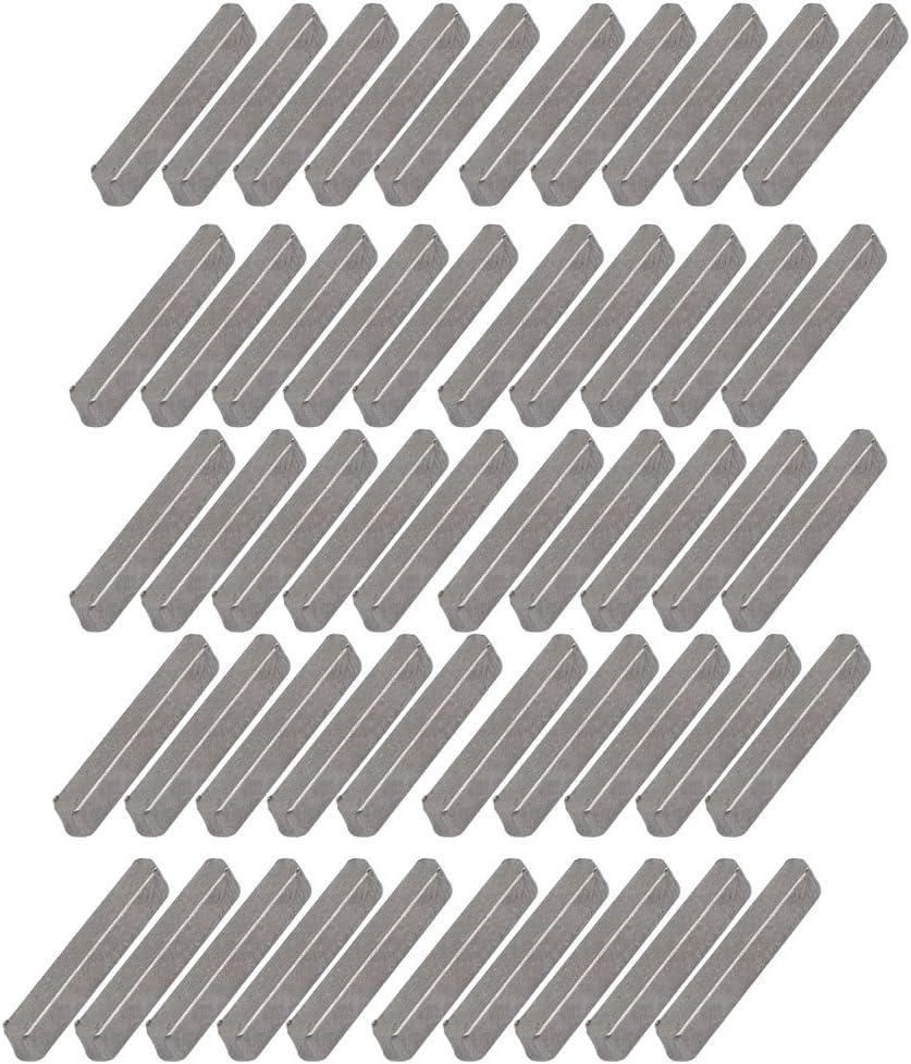 sourcing map 50mmx4mmx4mm acier carbone clavette barre clavette 25pcs gris