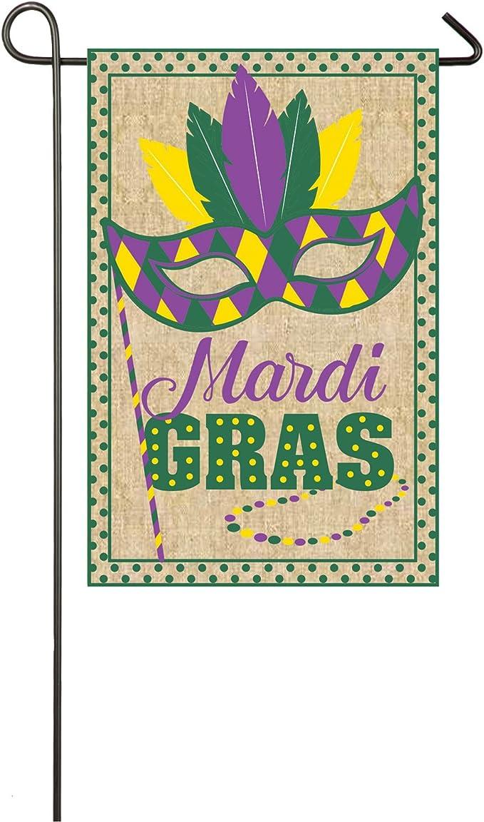 "Mardi Gras Garden Flag Mask Beads Holiday 12.5/"" x 18/"" Briarwood Lane"