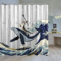 Funny Cat Shower Curtain,Cat Riding Whale in Japanese Ocean Kanagawa Waves on Rustic Wooden Board Shower Curtains Set…