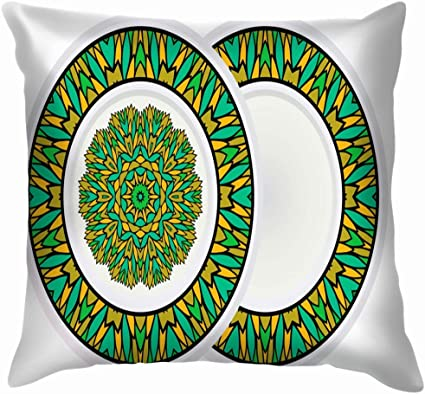 Set Design Mandala Ornament Round Frame The Arts Advertising Throw Pillow Case Cushion Cover Pillowcase Watercolor For Couch 20x20 Inch Amazon Co Uk Kitchen Home
