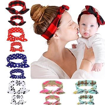 Mommy /& Me Headband Set Mom and Baby Plaid Mom and Me Set Baby Girl Bow |Turban Headband