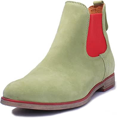 Justin Reece Womens Leather Mid Heel Chelsea Chunky Ankle Boots Size 3-8