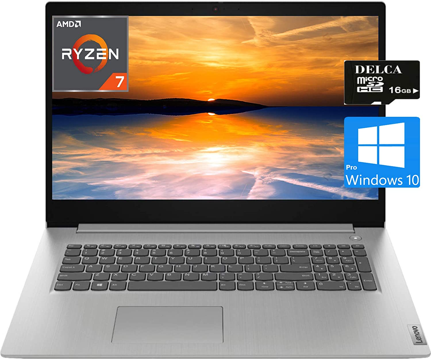 "Lenovo IdeaPad 3 17 Premium 2020 Laptop Computer I 17.3"" HD+ I AMD Quad-Core Ryzen 7 3700U (>i5-5200U) I 12GB DDR4 512GB SSD I HDMI Fingerprint WiFi Dolby Win 10 Pro + Delca 16GB Micro SD Card"