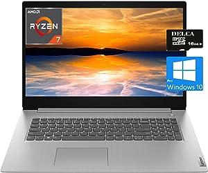 """Lenovo IdeaPad 3 17 Premium 2020 Laptop Computer I 17.3""""HD+ I AMD Quad-Core Ryzen 7 3700U (>i5-5200U) I 8GB DDR4 256GB SSD I HDMI Fingerprint WiFi Dolby Win 10 Pro + Delca 16GB Micro SD Card"""