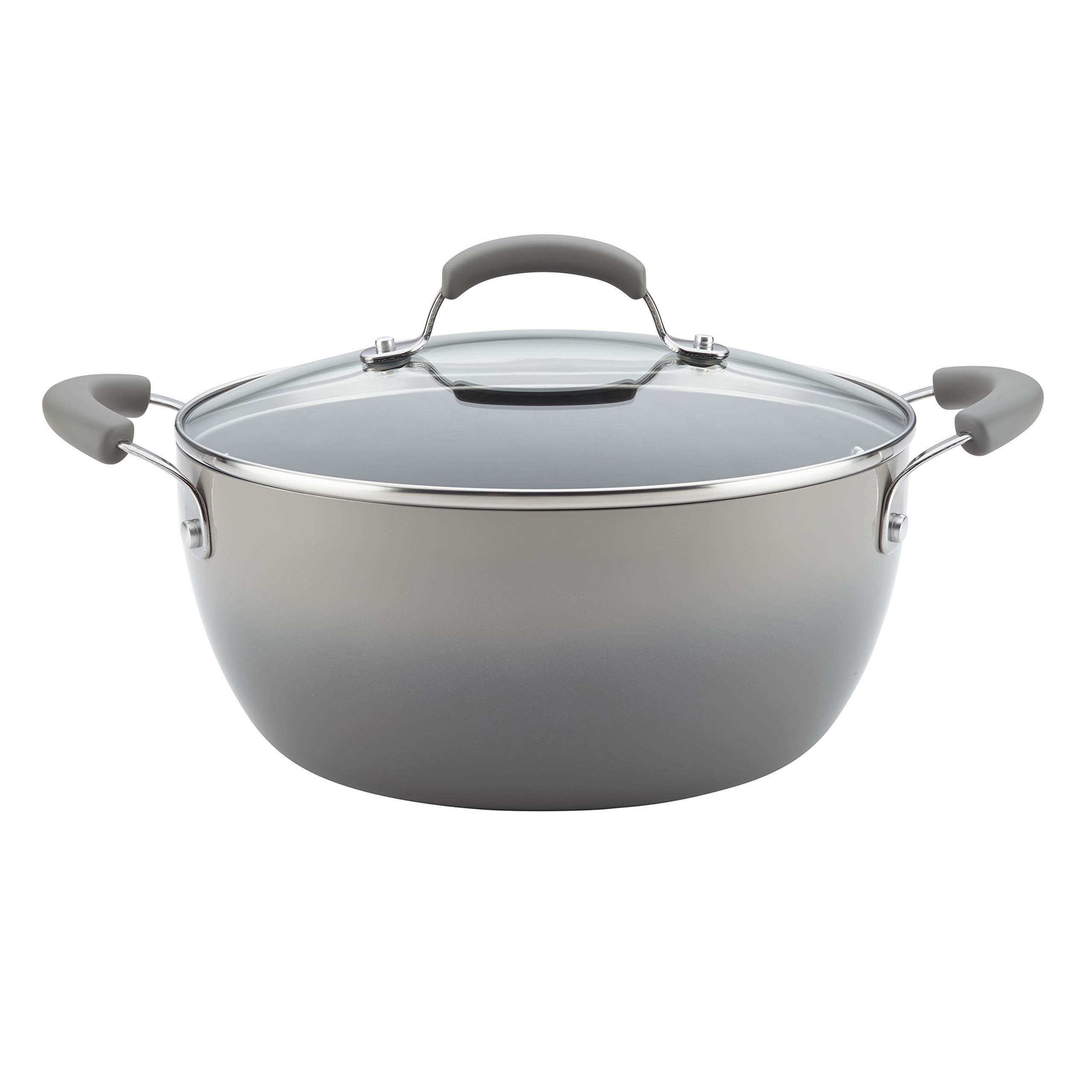 Rachael Ray Classic Brights Hard Enamel Nonstick 5.5-Quart Covered Casserole, Sea Salt Gray Gradient