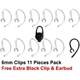 Crysendo 6 mm Transparent Bluetooth Ear Hooks with Clip (Pack of 11)
