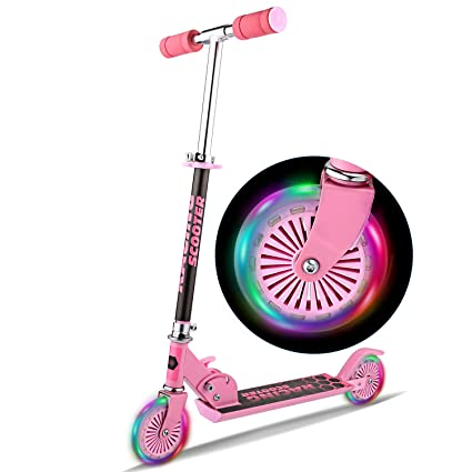 WeSkate Scooter for kids with LED Light Up Wheels, Adjustable Height Kick Scooters for Boys