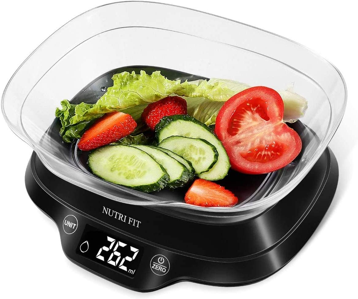 NUTRI FIT Electric Food Scale Digital Kitchen Equippment Weight in Pounds and Grams with 1.8L Removable Bowl for Baking Cooking Max Capacity, Easy to clean/Black