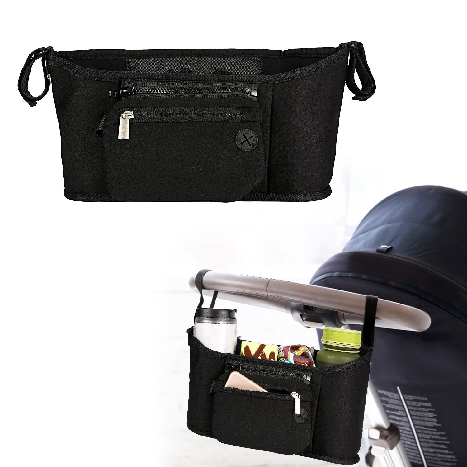 Baby Stroller Organizer Diaper Stroller Bag with 2 Carry Hooks, 3 Cup Holders,Detachable Wristlet, Stroller Accessories for Toys Milk Bottles Diapers and Wipes (Black)