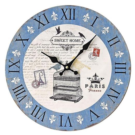 Reloj de pared vintage Jaula de pájaros Reloj de pared sin marco ...