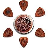 Thalia - Juego de 6 púas de madera de palisandro con nudo celta de 1,