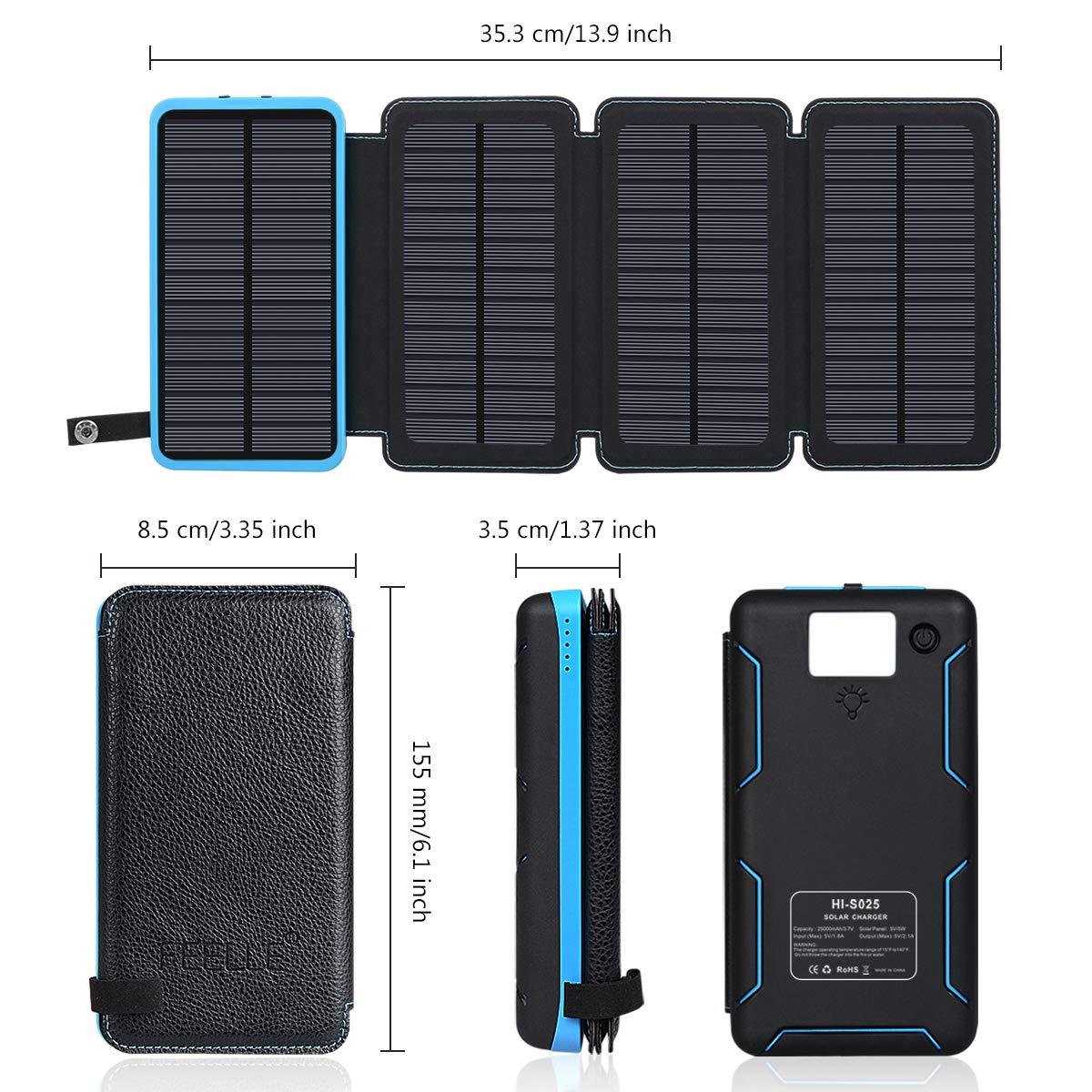 FEELLE Cargador Solar 25000mAh Batería Externa, Portátil Power Bank con 4 Paneles Solares, 2 Puertos de USB (5V/2.1A*2) para iPhone, Android, Tablet, ...