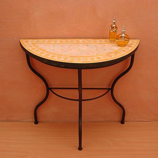 Casa Moro Mesa de jardín mediterránea | Mosaico marroquí Rombo Amarillo | 80 x 30 cm con Marco de Hierro | Hecho a Mano | Ideal para Entrada, terraza o balcón | MT2009: Amazon.es: Jardín