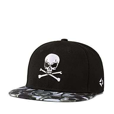 Botia Hombre Skull Gorras Bordadas Snapback Visera Plana Gorras de béisbol Ajustables Hip Hop Street Dancing Caps: Amazon.es: Ropa y accesorios