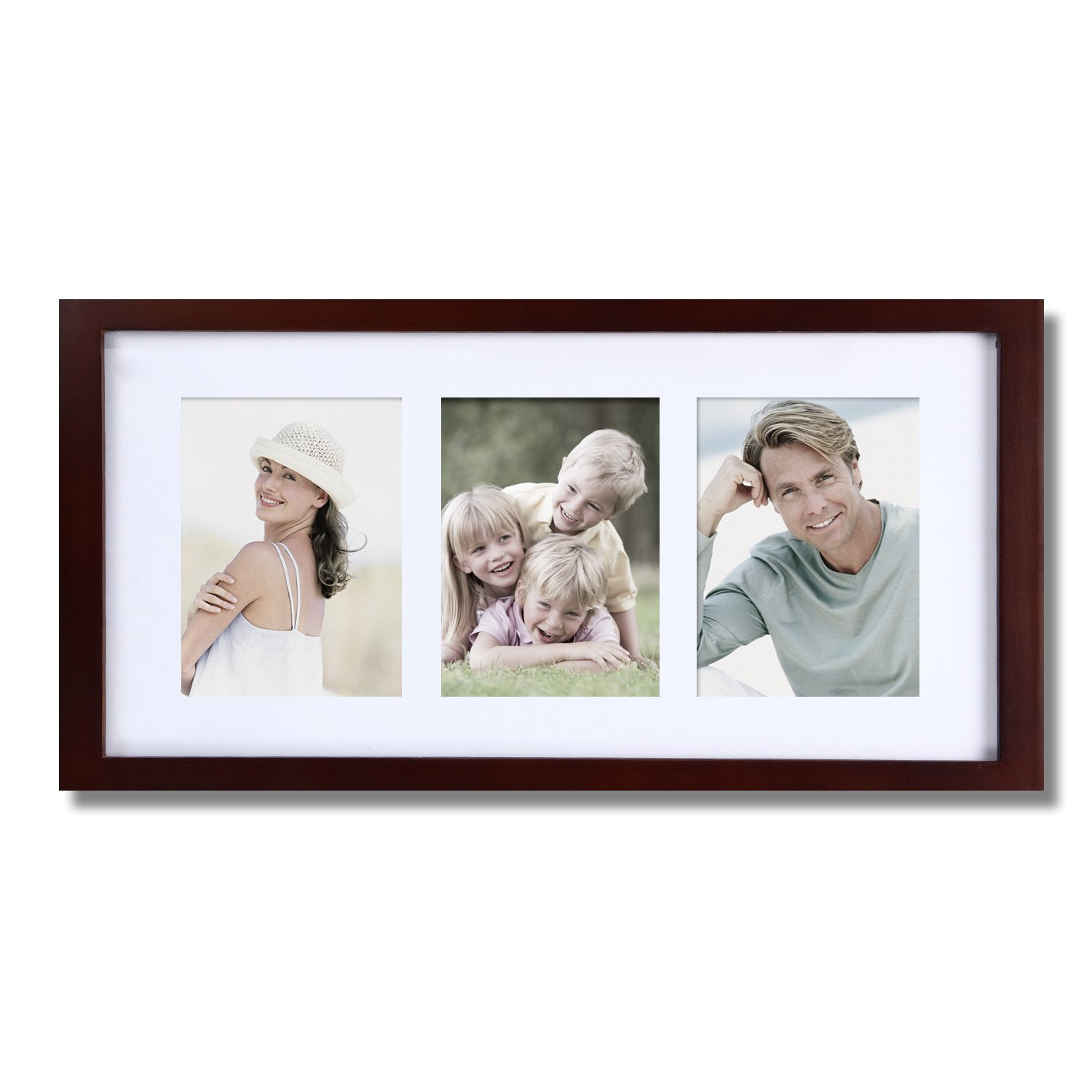 Adeco PF0284 3-Opening Walnut Matted Wooden Wall Hanging Collage Picture Photo Frames - Home Decor Wall Art, Holds Three 4x6 Photos, Great Gift, Walnut