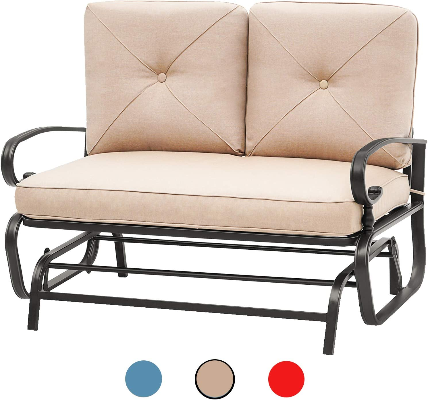 Incbruce Outdoor Swing Glider Rocking Chair Patio Bench for 2 Person, Garden Loveseat Seating Patio Steel Frame Chair Set with Cushion, Brown