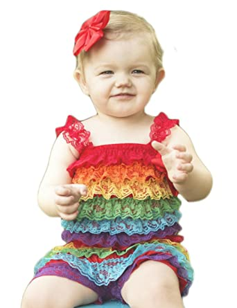 e306dc50e66 Hairbows Unlimited Rainbow Lace Ruffle Petti Romper (Small (0-6 Months))