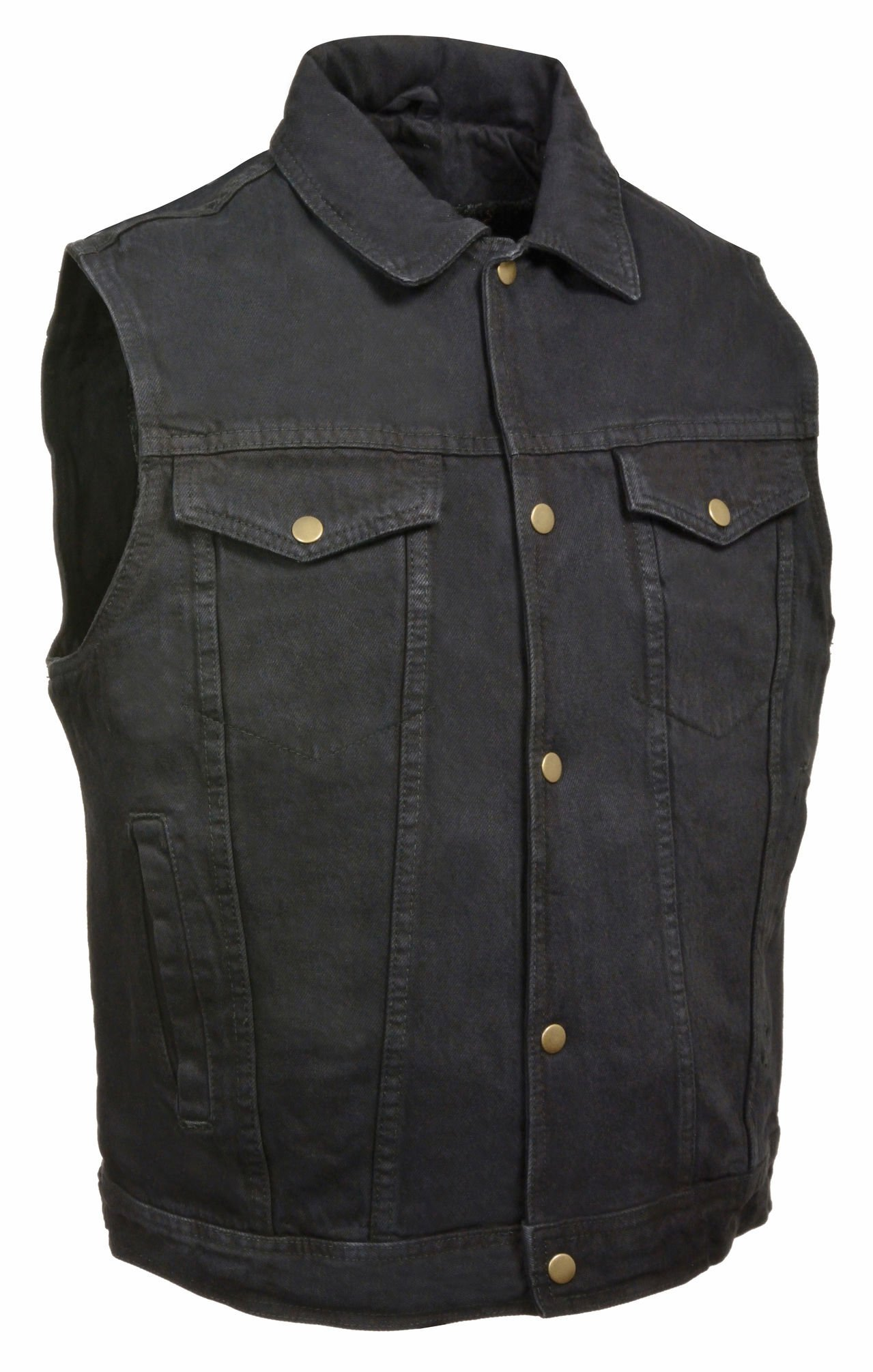 Milwaukee Leather Men's Snap Front Denim Vest w/Shirt Collar (Black, 3X) by Milwaukee Leather