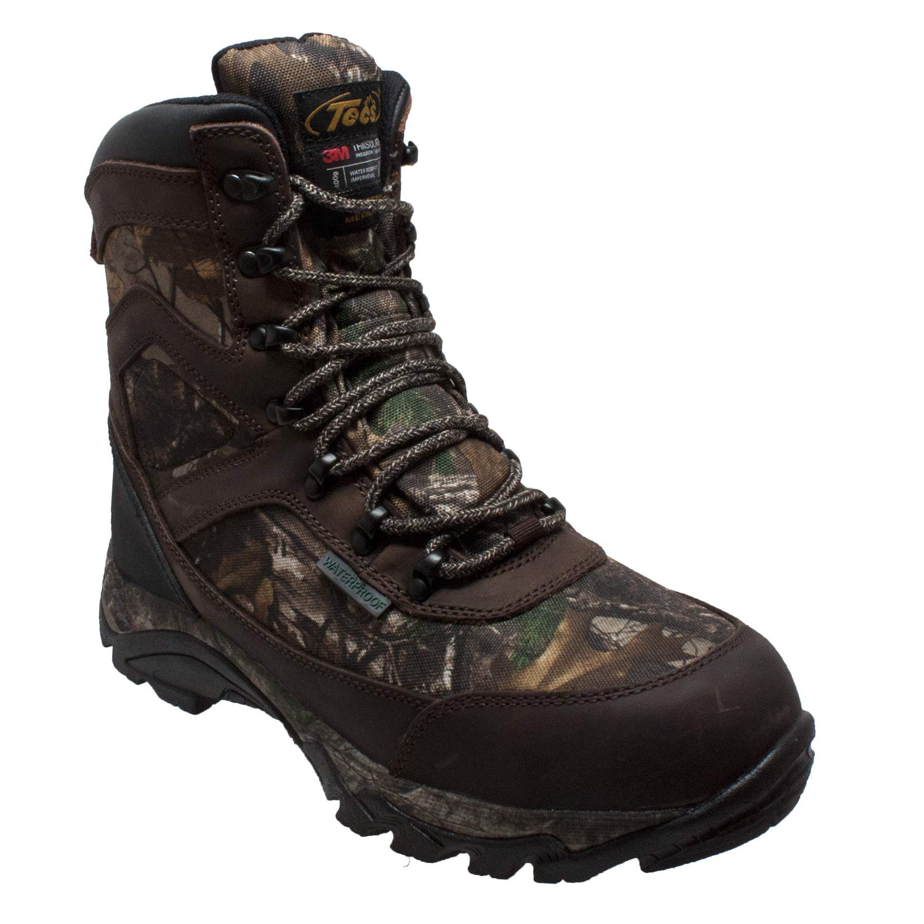 TECS Men's 9'' Leather Boots: Waterproof for Hunting, Fishing, Hiking or Outdoors 400g, Camo, 10.5 M US by TECS
